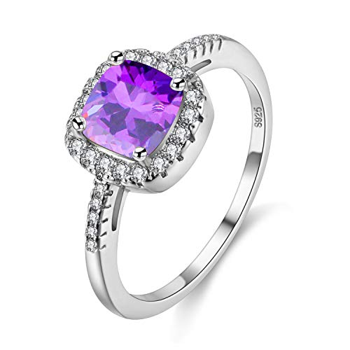 UloveidoホワイトゴールドメッキクッションカットCZクリスタルハローソリティア婚約指輪、チャーム結婚指輪(パープル、サイズ16)Y3100