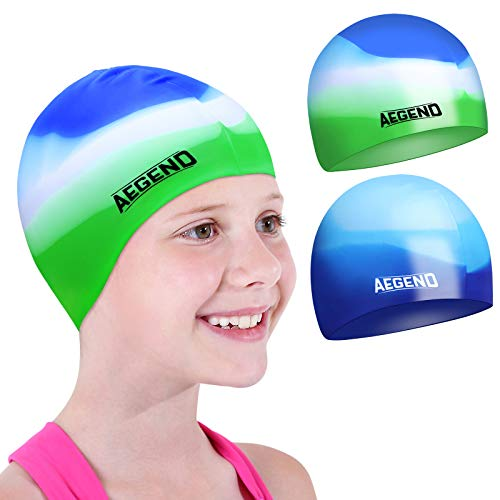 Aegend Kids Swim Cap (Age 4-8), 2 Pack, Blue & Green