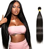 NUOF 9A Brazilian Straight Hair 1 Bundle (30 inch) 100% Unprocessed Brazilian Virgin Straight Hair Human Hair Natural Black 100 Gram