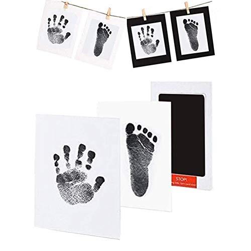 fanshiontide Kit de Huella Bebe Pie y Manos,Juego de Impresión para Bebé,Bebé Kits de Impresión de Huellas de Mano Y Pies,Perfecto para Regalo de Bebé de Recuerdo Familiar,2pcs,Negro