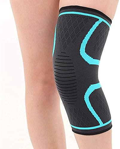 Ducomi KneeX - Rodillera de compresión para soporte de ligamentos, menisco, cruzados 1 Par, Banda elástica para la rodilla para hombre y mujer   Soporte ideal para voleibol, baloncesto (Azul Claro, L)