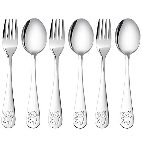 6 Pieces Kids Silverware Stainless Steel Children's Safe Flatware Little Bear Child Spoon and Fork Set Toddler Utensils Metal Cutlery Set,3 x Safe Forks,3 x Children Tablespoons