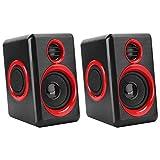 143 Mini Speaker Laptop Loudspeaker with Stereo Sound & Enhanced Bass PC Speakers for Desktop Computer for Smart Phone, MP3, iPad, Tablet & More(Black red)