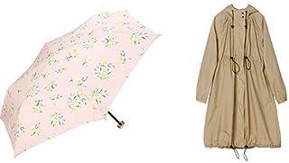 【セット買い】ワールドパーティー(Wpc.) 雨傘 折りたたみ傘 ピンク 50cm レディース ポーチタイプ オリーブミニ 4969-229 PK+レインコート ポンチョ レインウェア ベージュ FREE レディース 収納袋付き R-1101 BE
