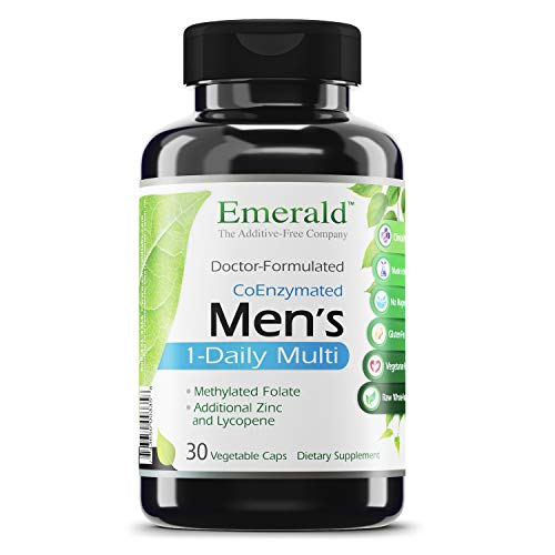Men's 1-Daily Multi - Complete Daily Multivitamin with CoEnzymes, Extra Zinc & Lycopene - Supports Healthy Prostate, Energy Boost, Bone Strength, & More - Emerald Labs - 30 Vegetable Capsules