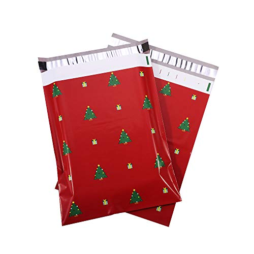 Poly Mailers 10x13 Christmas Xmas Holiday Design Poly Mailer Envelopes Shipping Mailing Bags Self-Sealing Packaging Cute Custom Package Designer Poly Mailer, Tree (Red) 25-Pack