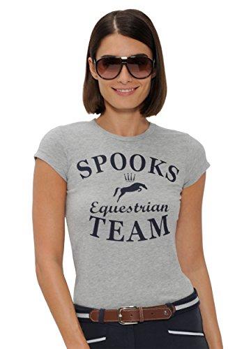 SPOOKS T Shirt für Damen Mädchen Kinder, tailliert Sommer Tshirt mit Aufdruck aus Frotee - bequem & stylisch Team - Grau M