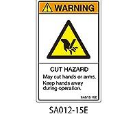 セフティデンキ SAシリーズ ISO警告ラベル 縦型 英文 切断注意 5シート × 5枚 SA012-15E