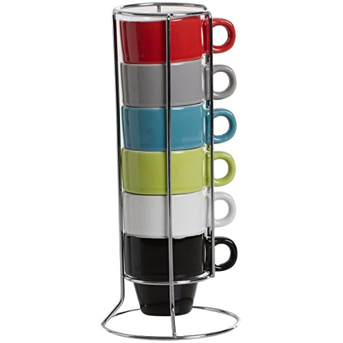 Promobo - Service Lot 6 Tasses Expresso Avec Anse Empilable Sur Rack