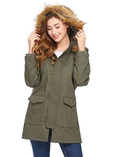 SoTeer Women's Hooded Warm Winter Faux Fur Lined Padded Parka Coat