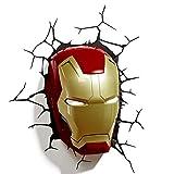 SMILE Luz 3D Marvel Avengers Máscara de Iron Man Guantes Luz 3D Deco Lámpara...