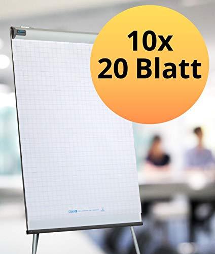 Landre Flipchart-Papier, kariert, mit 20 Blatt je Block, 10er Pack