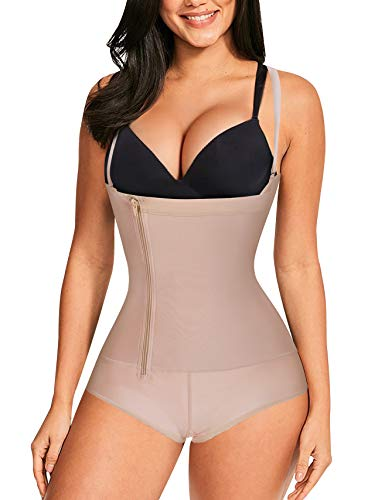 Nebility Women Latex Waist Trainer Bodysuit Slim Full Body Zipper Shapewear Open Bust Corset (2XL, Beige)
