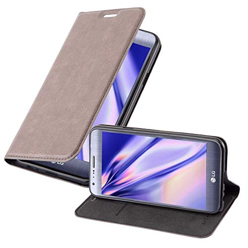 Cadorabo Hülle für LG X CAM in Kaffee BRAUN - Handyhülle mit Magnetverschluss, Standfunktion & Kartenfach - Hülle Cover Schutzhülle Etui Tasche Book Klapp Style