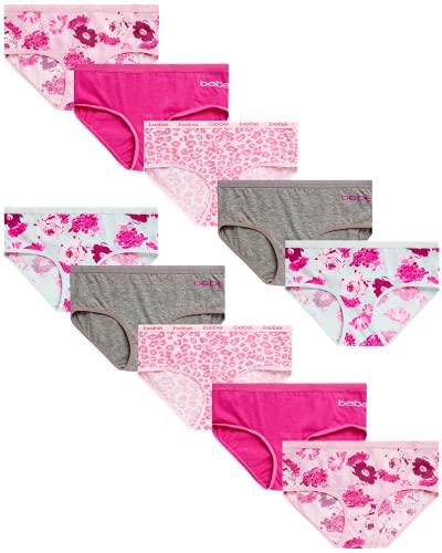 bebe Girls Hipster Bikini Underwear (10 Pack), Size Large (12/14), Sage, Pink, Floral, Cheetah Print