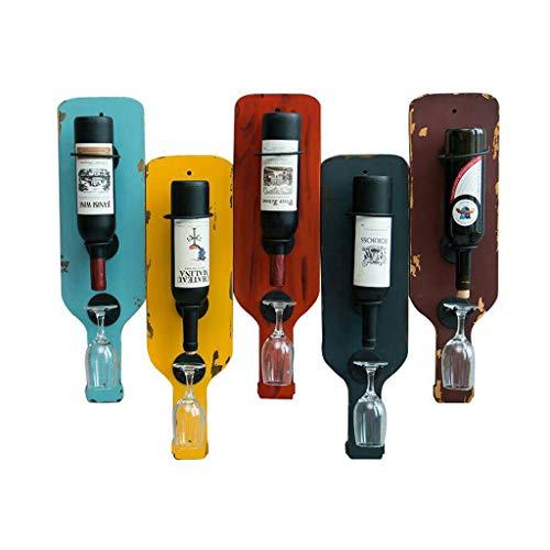 wantanshopping Botellero Vino Creativo Retro de Madera Maciza en Rack de Vino montado en la Pared Soporte de exhibición de Vino de Hierro Forjado Portavasos Alto Estante para Vino