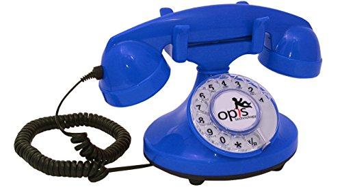 OPIS FunkyFon Cable: Teléfono telefono Fijo Retro con Disco de marcar en el Estilo sinuoso de la década de 1920, con Timbre electrónico Moderno (Azul)