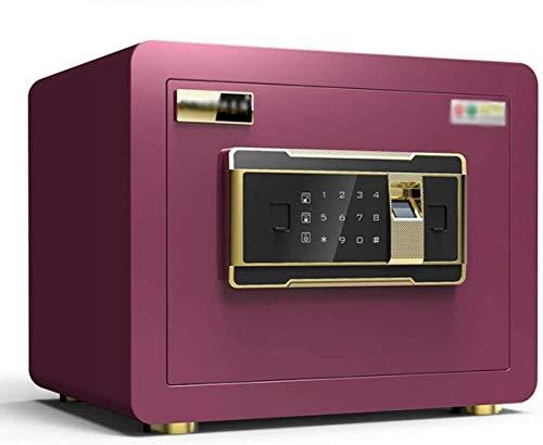 Kluisvrij voor de veiligheidskast, vingerafdruk, wachtwoord, double lock, anti-diefstalalarm, klein all-steel in de kast kan ik de kluis niet verplaatsen, 25 x 35 x 25 cm rozerood