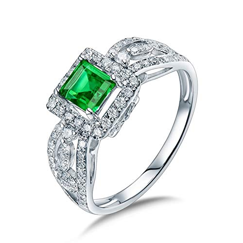AtHomeShop Real Gold Collection, 18K White Gold Rings, Square Confidence Ring with Shiny Square Emerald and Diamond Marriage Proposal Ring for Fiancee, Proposal Marriage, Polished White Gold