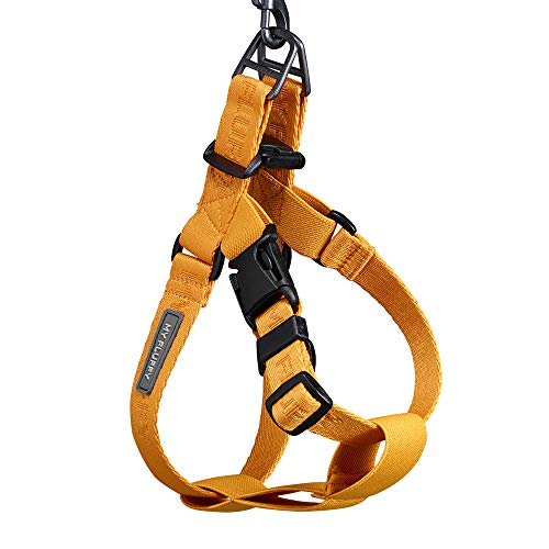 MY FLUFFY Fear-Free Adjustable Dog Harness No Pull, No Choke, Easy to Wear, Soft Touch Webbing for Small to Medium Dogs Color Mustard XLarge