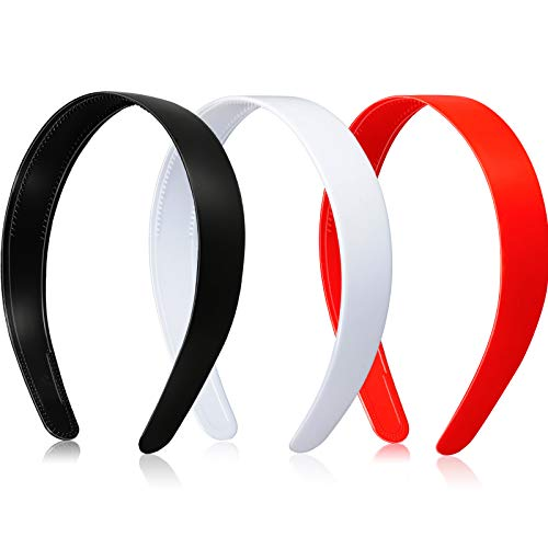 3 Diademas de Plástico de 1 Pulgada de Ancho con Dientes Diadema de Plástico Dura Lisa Aros Bandas de Cabeza Artesanales Antideslizantes Accesorios DIY para Cabello (Negro, Blanco, Rojo)