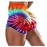Aniywn Women's Workout Yoga Shorts, High Waisted Tie Dye Yoga Shorts Ruched Butt Lifting Workout Running Short Orange