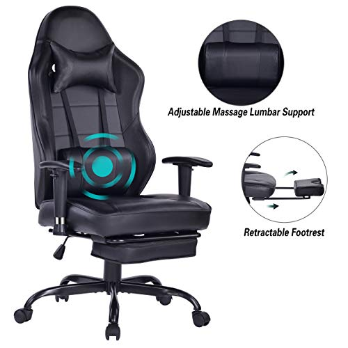 Blue Whale Massage Gaming Chair with Footrest, High Back Racing PC Computer Desk Office Chair Swivel Ergonomic Executive Leather Chair with Adjustable Armrest 8332 Black chair footrest gaming