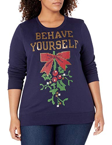 JUST MY SIZE Women's Plus Size Ugly Christmas Sweatshirt, Hanes Navy Behave Yourself, 1X
