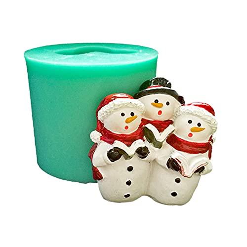 yubin Molde de silicona con forma de Papá Noel y muñeco de nieve en 3D, para decoración de tartas, para dulces y chocolates hechos a mano