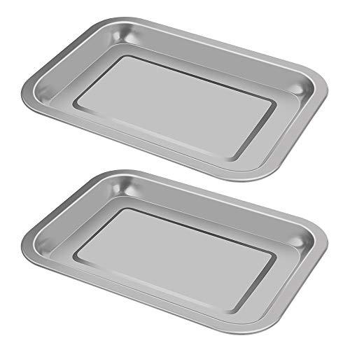2 Pack Surgical Tray, Stainless Steel Medical Tray Dental Procedure Lab Instruments, Tattoo Tool Bathroom Organizer (10.43'' x 7.67'')