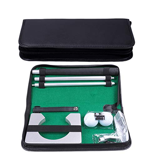HOW TRUE Golf Putting Set with Golf Putter, 2 Golf Balls, Golf Putting Cup for Travel Indoor Golf Putting Practice, Portable Golf Putter Kit, Golf Gifts for Men