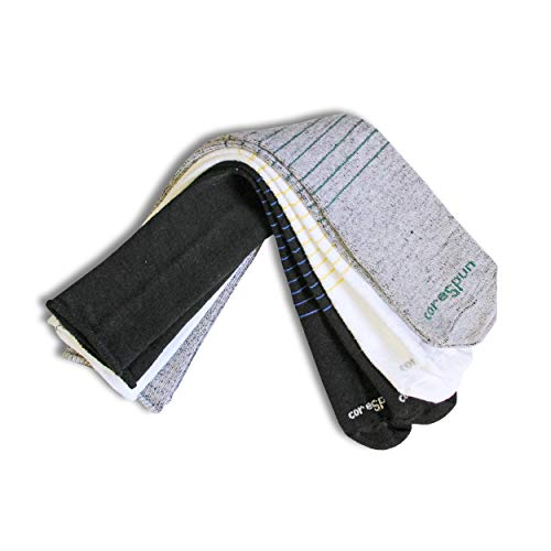 Core-Spun Patterned Child AFO Socks by SmartKnit- Halos 3 Pack - White/Grey/Black - Child Regular