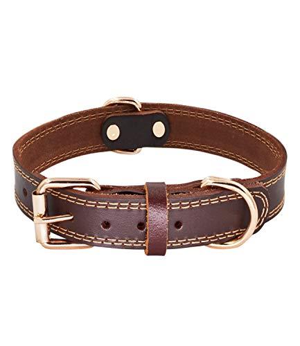 SLZZ Collar de Piel de para Perro, Tacto Suave Resistente Ajustable, para Hombres y Mujeres Perros pequeños medianos y Grandes