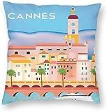 BONRI Stad Gebouw Poster Cannes Frankrijk Retro Reiskaart