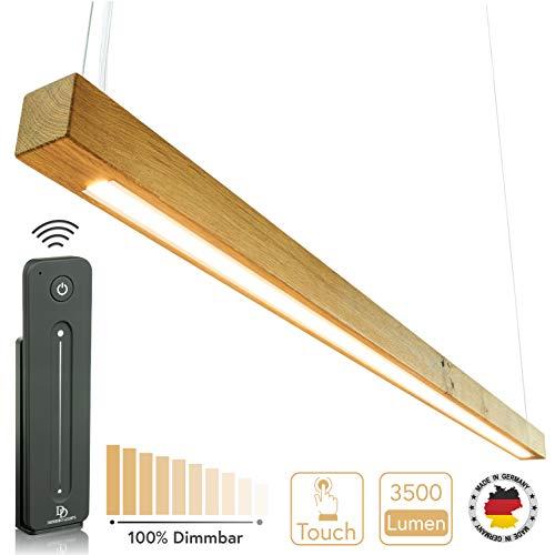 Denidro Lights Hängelampe - Made in Germany Pendelleuchte aus Massivholz - LED Hängeleuchte aus einem Holzstück - Angenehm warmweißes Licht - 2000 Lumen (Wildeiche, 100 cm)