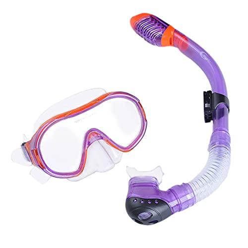 SJZERO Juego de Snorkel para ni?os Gafas de natación antivaho Tubo de respiración Equipo de Snorkel Completamente seco Accesorios de natación para ni?os