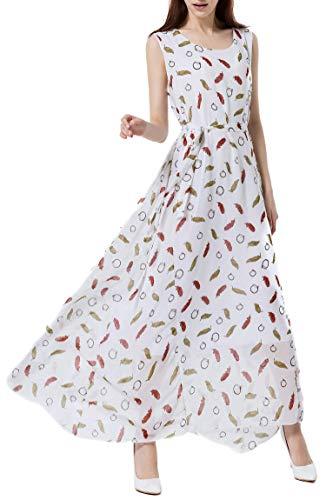 Wantdo Women's Peacock Printed Bohemian Summer Maxi Dress, US 8