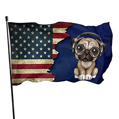 DRXX Pug Gafas de Sol Auriculares Bandera de EE. UU. 150 X 90 cm, Adecuado para decoración de pancartas de Patio de jardín de casa residencial de Interior al Aire Libre