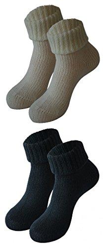 Tobeni 2 Paar Damensocken Wintersocken mit Umschlag aus hochwertiger Wolle Farbe 1x Schwarz 1x Wollweiss Grösse 39-42