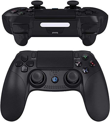 JOYSKY Wireless Controller Bluetooth Gamepad USB Controller mit Turbo/Touchpanel-Spielbrett mit doppelter Vibration/6-Axis Gyro Funktion/Mini-LED-Lenkrad (Schwarz)