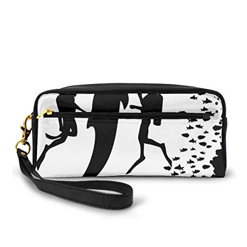 Pencil Case Pen Bag Pouch Stationary,Two Scuba Divers and Giant Fish Silhouette Swimming Close to The Reef Monochrome,Small Makeup Bag Coin Purse