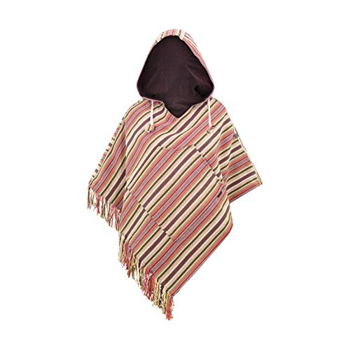 virblatt- Ponchos for Women Baja Poncho Sweater Cotton Hippie Hoodie Mexican Poncho Jerga Womens Poncho Black – Relaxed Brown LXL