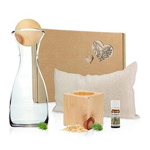 Gesundheitskissen.at Zirben Erlebnis-Geschenksbox #3: Zirbenkissen + Zirbenwürfel-Set + Zirbenkugel-Set