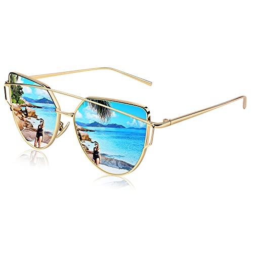 CGID CGID Mode Polarisierte Katzenaugen Cat eye Sonnenbrille For Damen UV400 reflektierenden Spiegel Metall Rand Rahmen,Gold Blau