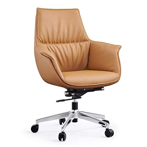Koreyosh Mid Back Swivel Chair for Desk with Adjustable Height Handle Office Armchair PU Leather Ergonomic Desk Chair,Brown