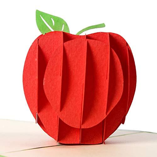 Rykamia Red Apple Pop Up Card, 6x6 , Back To School Pop Up Card, Apple Card, Pop Up Card For Children, Card for Kids, Good Luck Card Teacher, Teacher Gift, Employee Appreciation Card, Get Well Card