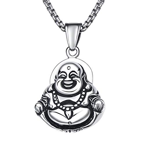 BBBGEM Stainless Steel Chinese Laughing Buddha Buddhism Maitreya Chain Necklace,Buddha Jewelry for Women Men,Buddhist Amulet Protection Lucky Charm Necklace