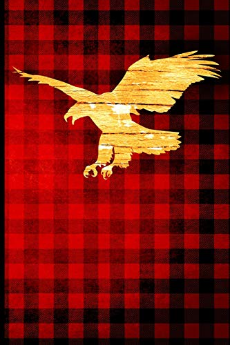 Buffalo Plaid Eagle Journal: Wood Grain Animal Silhouette - Blank Lined Journal with Soft Matte Cover