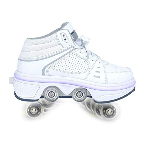 Zapatos para Caminar Automáticos Zapatos Polea Invisible Patines Zapatos con Ruedas Hombre Mujer Zapatos Patinaje con Ruedas De Deformación LED Doble Fila para Niños Adultos,White-38