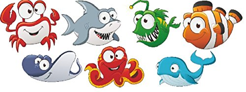 Aufkleber Pool * Sticker Swimmingpool * Poolaufkleber Unterwasser * Deko Set Comic (20)